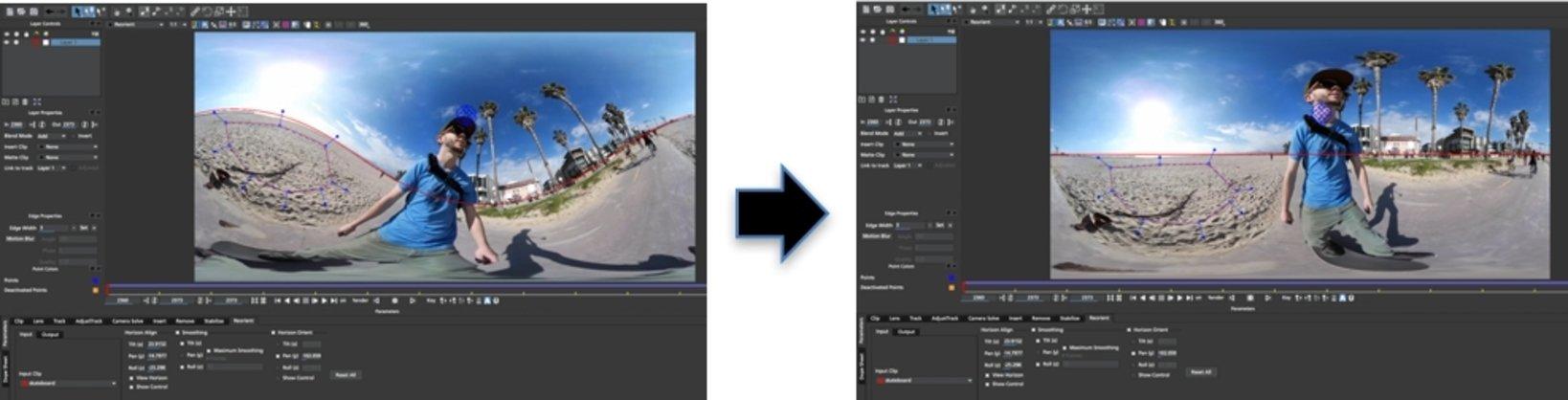 ▲左:加工前  右:加工後 ※本製品と「mocha VR」のセット販売も同時に受付を開始します。