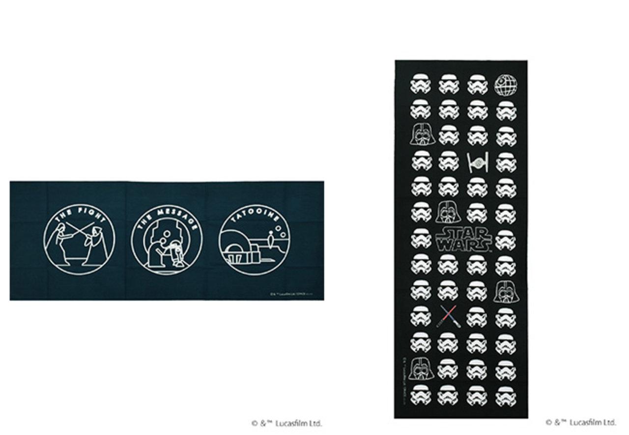 手ぬぐいのデザインは4種類。STAR WARS 手ぬぐい各1,700円(税抜)。
