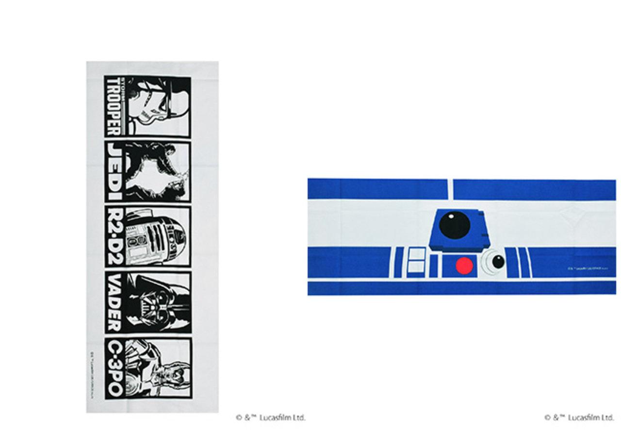 人気キャラクターが勢ぞろいのデザイン(左)。頭に巻くと、R2- D2になれる!?(右)