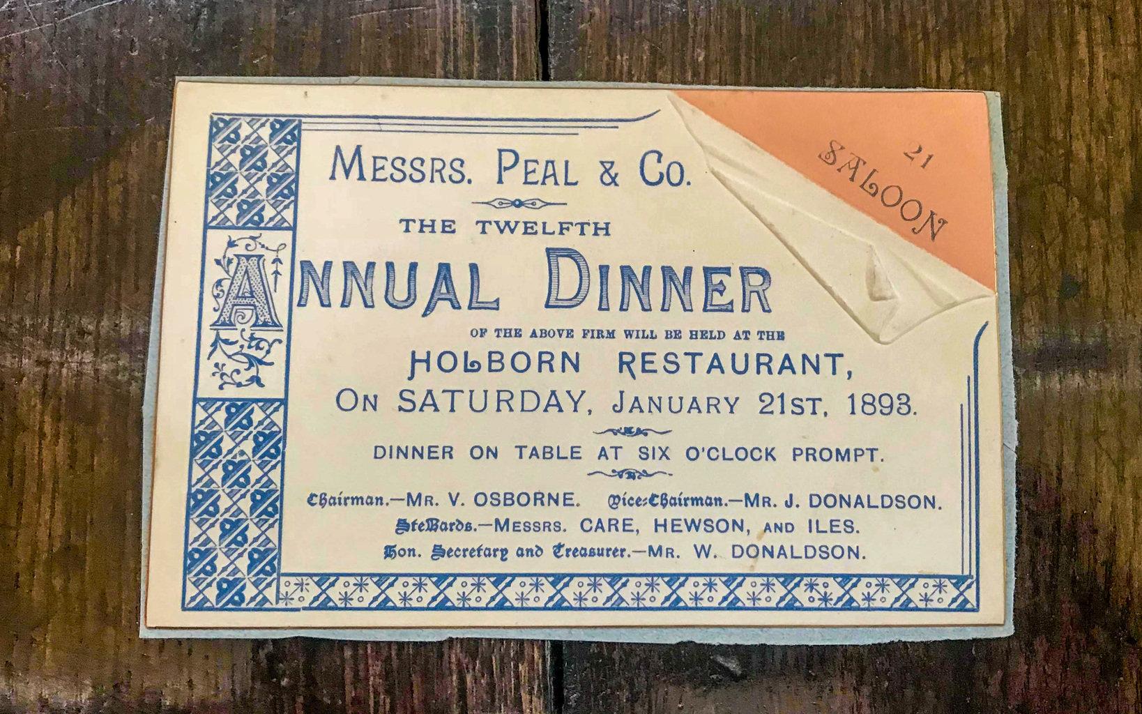 夕食会のチケット