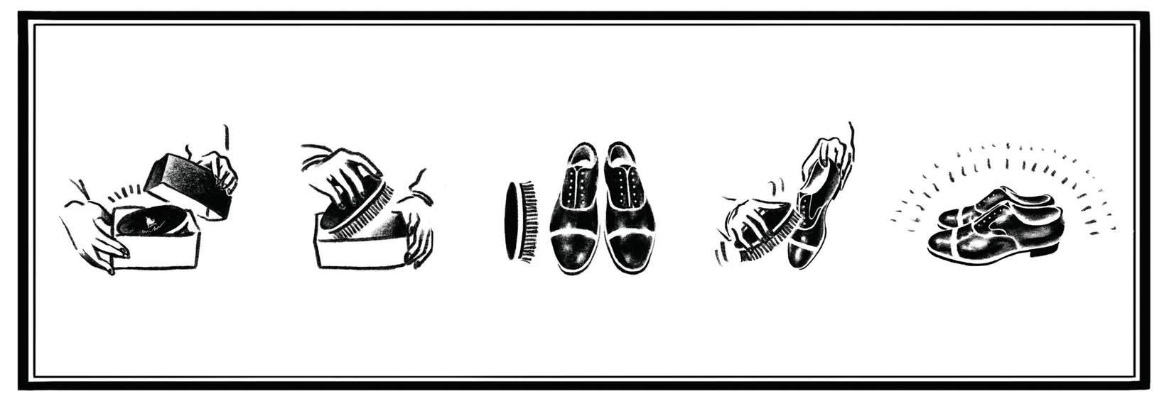 遊び心が感じられる山羊毛のブラシの取扱い説明書。ブラシによってイラストも変わる。取説に描かれている靴はあの有名ブランドの革靴。キャップ部分をぼかすことで、見る人が見たらわかるような形になっている。