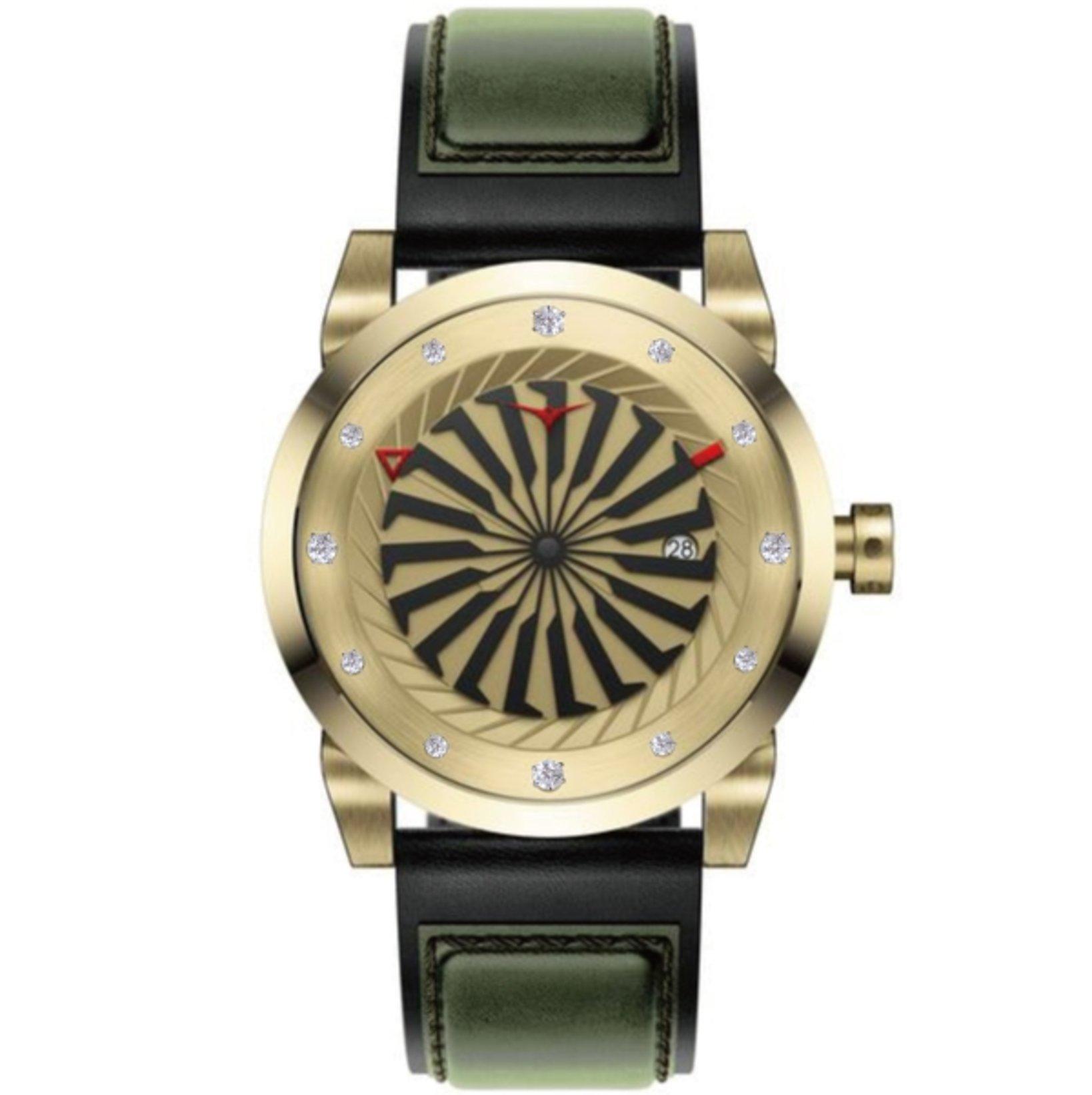 商品名:GOLD.1D 価格:¥220,000+税 ケース径:44MM/12MM 自動巻き、5気圧防水、牛革ストラップ、ホワイトダイヤモンド(0.262ct)