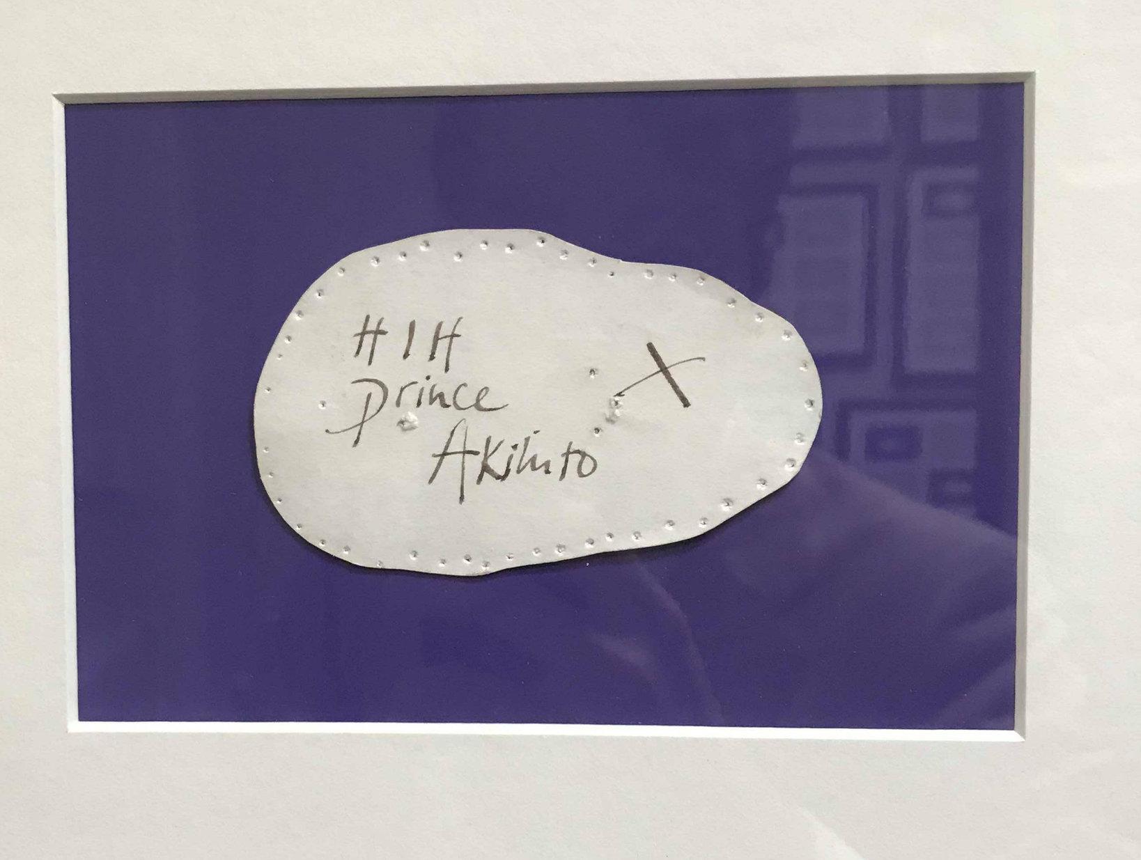 皇太子時代の今上天皇のコンフォームカード。フィッティングの模様を捉えた写真がLock & Co.に展示されている。