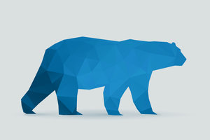 Polar bear polygon blue silhouette
