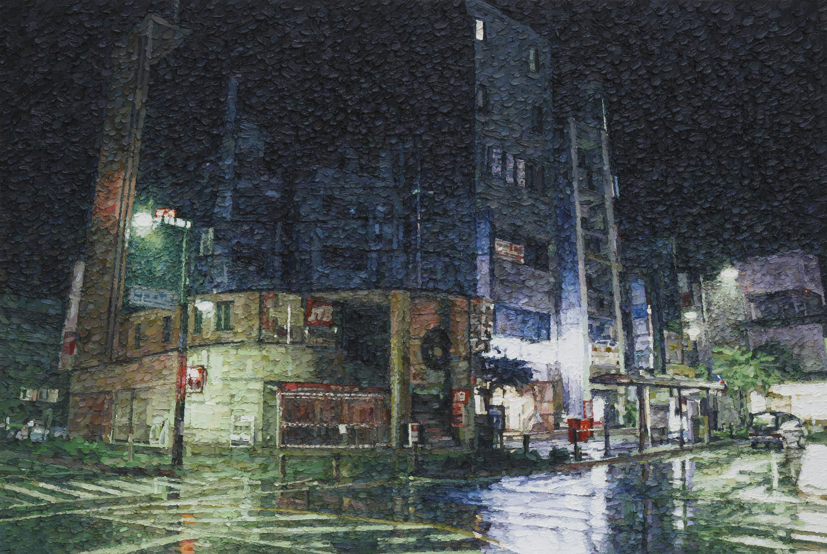 Night Rain (Yosame), 2014, Oil on cotton ©︎Naoki Tomita / MAHO KUBOTA GALLERY