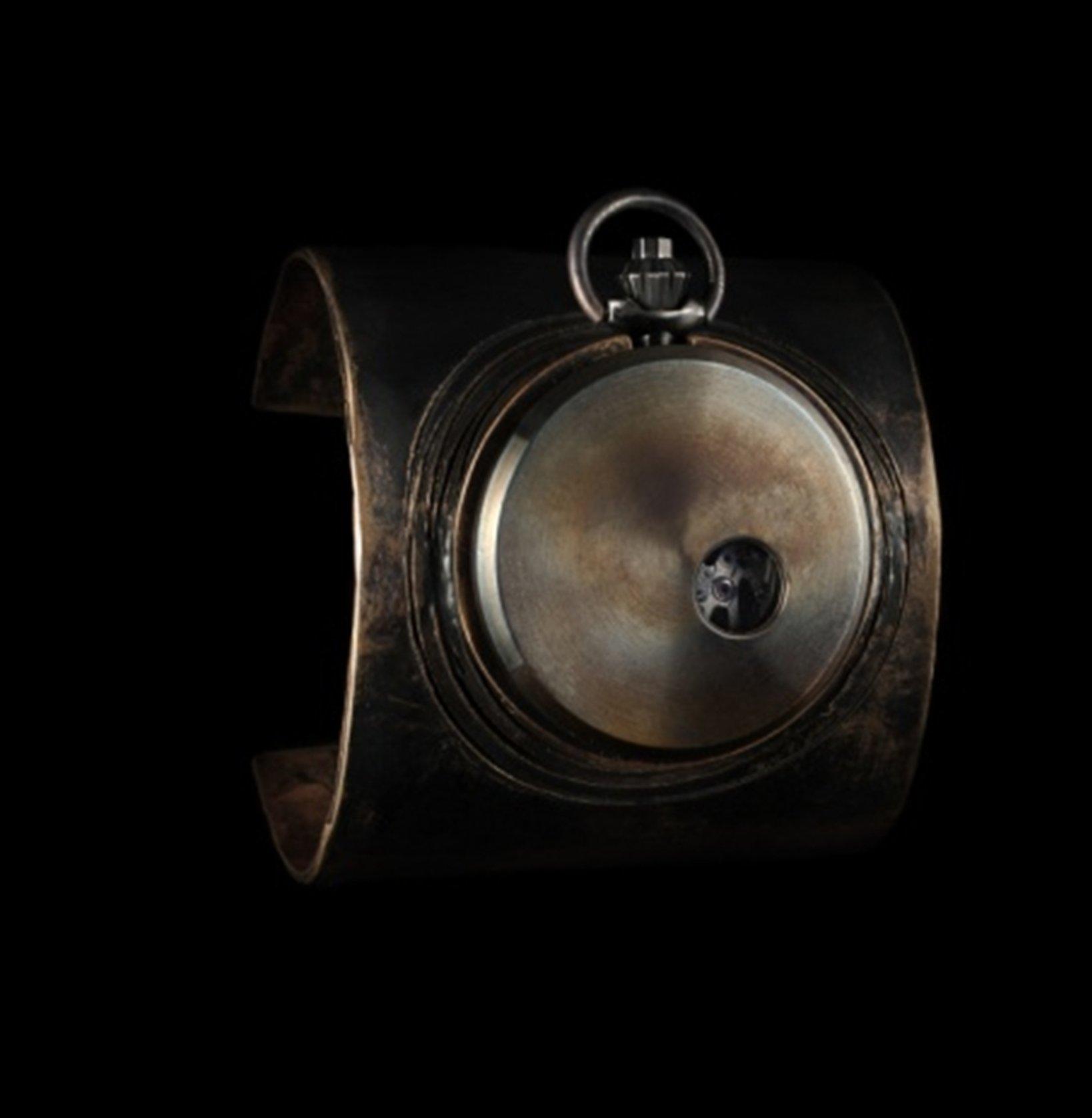 Bronze HEX Cuff/R-40 HEX T vintage bronze cuff with vintage poket watch 40mm 170,000円+税