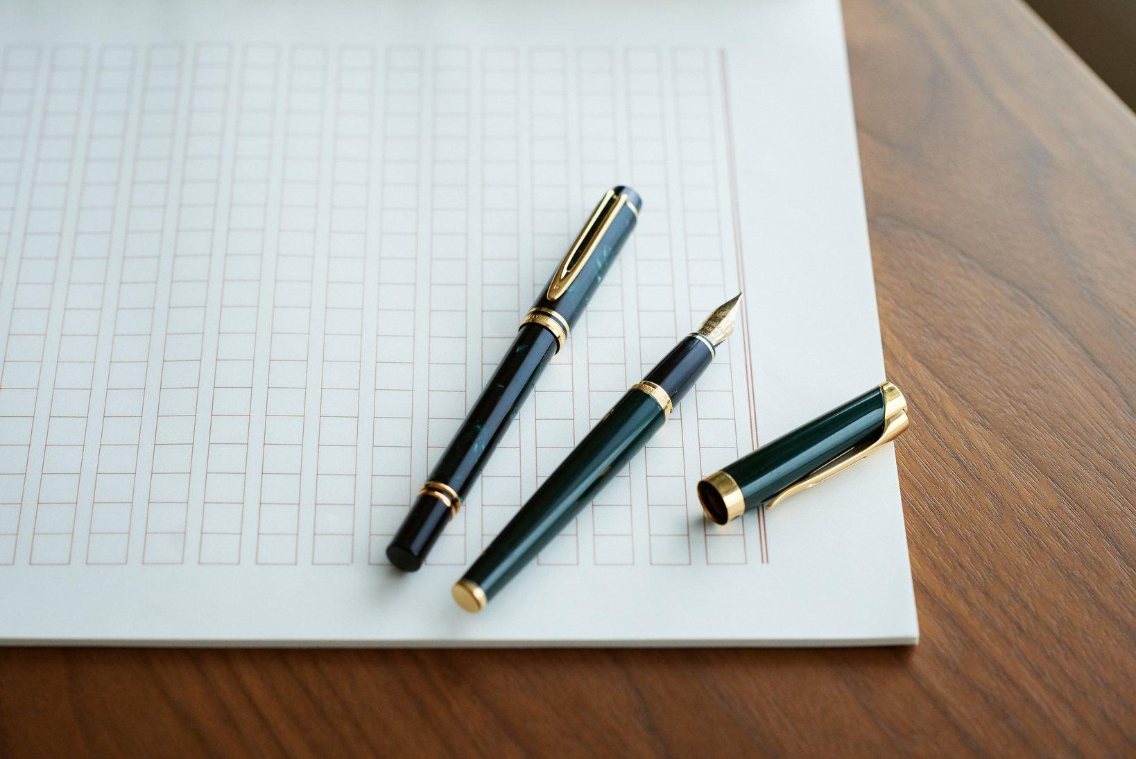 「ル・マン200」をベースに軸をマーブル模様に仕上げた、優美な「ラプソディ ベルベット」の万年筆。小ぶりなサイズ感が日常使いにぴったりで気に入っている。