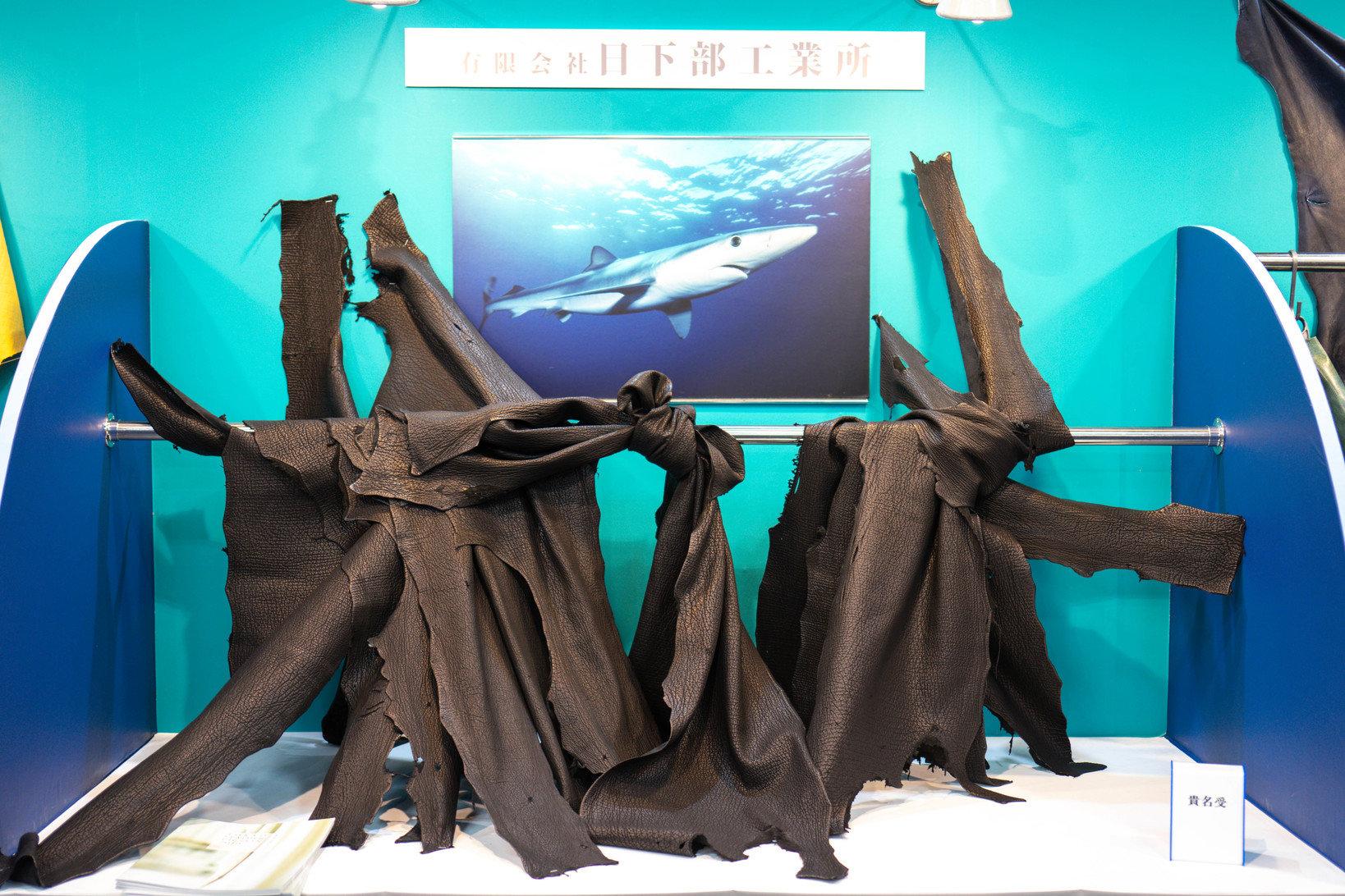 会場では芸術的な革の展示も多く行われていました。