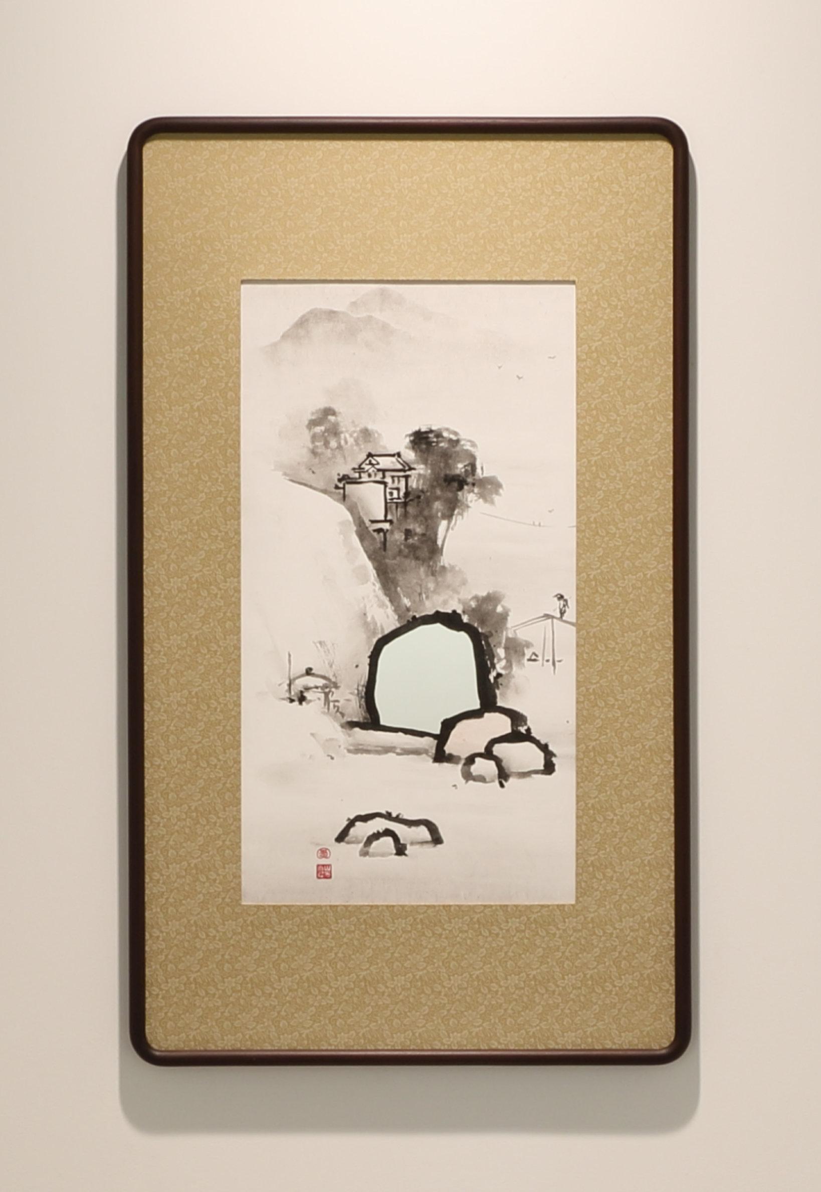 山水圖(雲谷派写し) 2016 ミクストメディア 98 x 58.3 cm  撮影:宮島径 ©︎YAMAGUCHI Akira, Courtesy of Mizuma Art Gallery