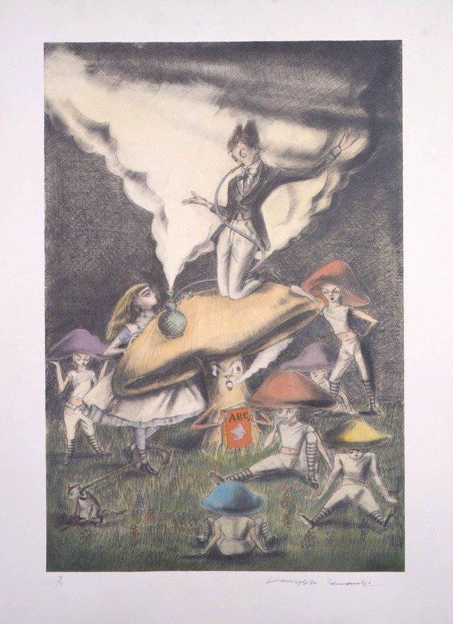 2000年「不思議の国のアリス」より。上記と同じシーンの絵。キノコに乗るイモムシが人物になっているなど、はっきりと違いが見て取れる。