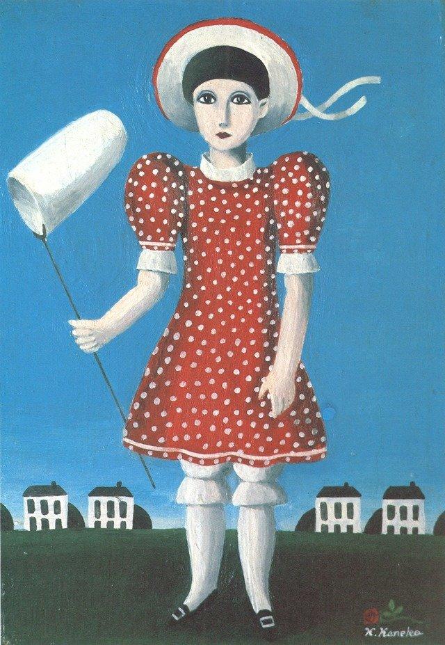 1964年「夏休み」。最初期の作品だが、すでにしっかりとサインが刻まれており、この作品に至ってはサインが薔薇の絵で飾られている。