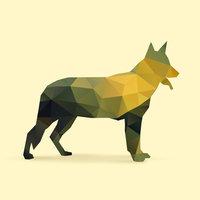 Dog polygon silhouette