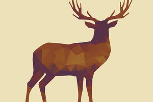 Deer polygon orange purple silhouette