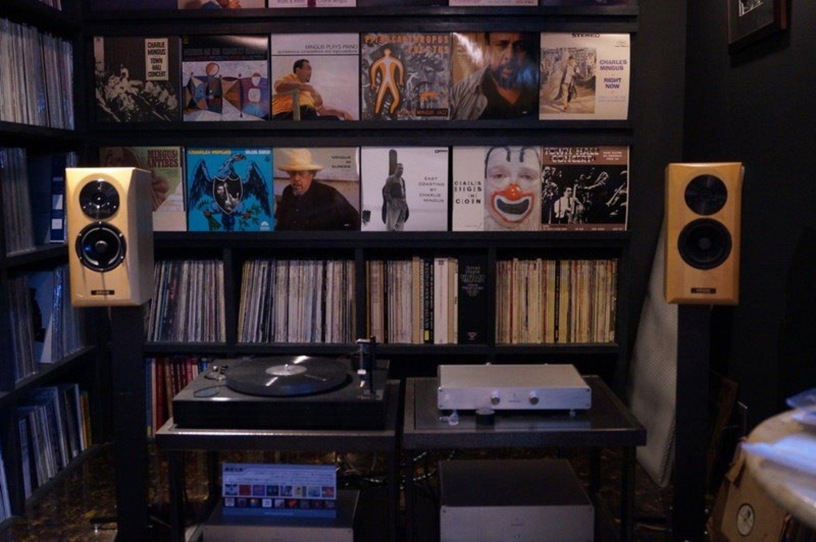 厳選された約5,000枚のレコードが並べられている