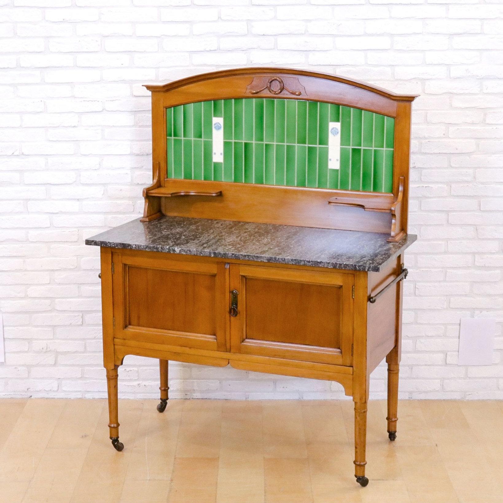 1930年代、ウォールナット材のウォッシュハンドスタンド(参考商品)