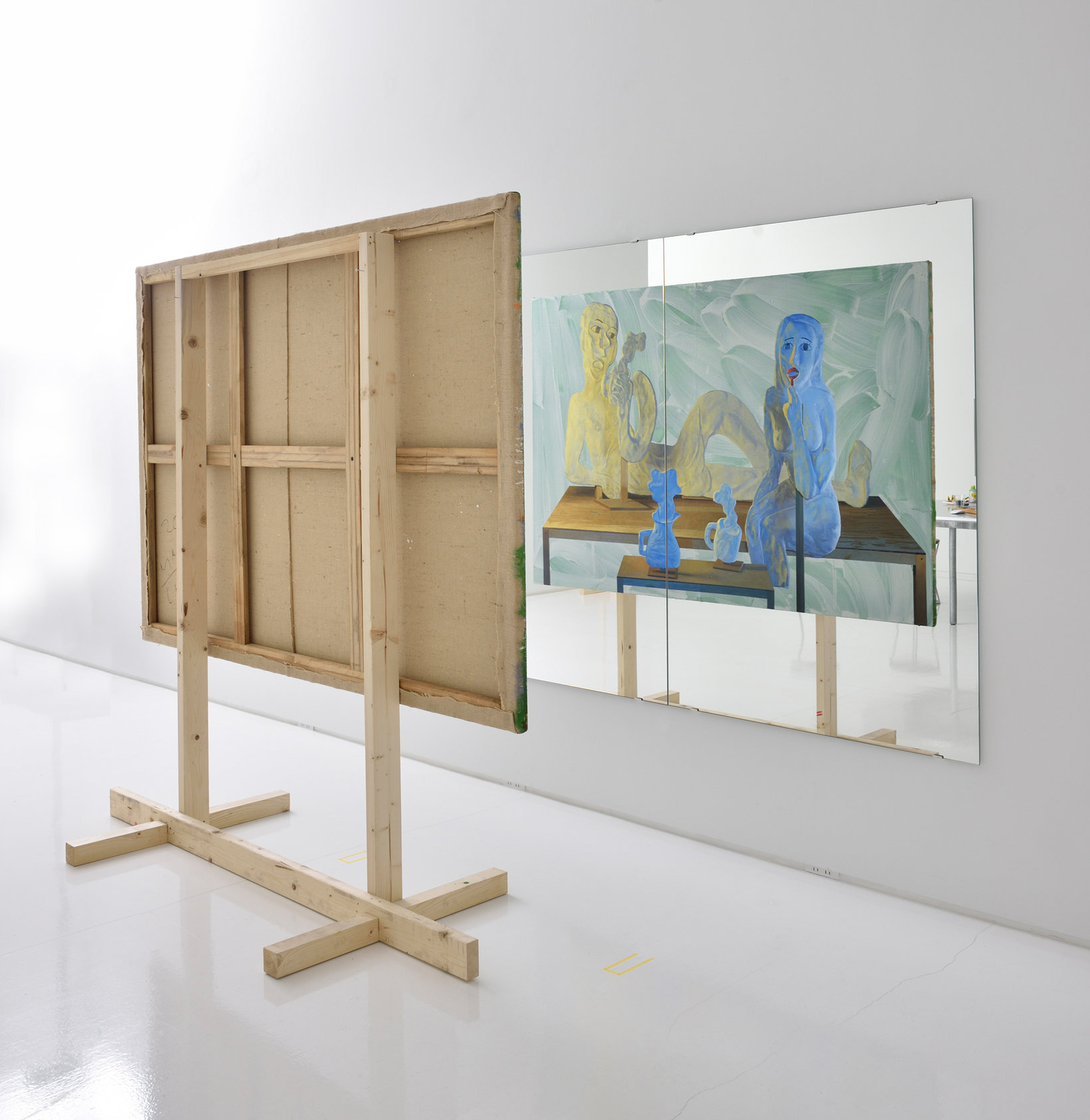 千葉正也《モーニングコーヒー、湯気 》2018, キャンバスに油彩、鏡、木材, 131x194cm (キャンバス) 150x210cm(鏡), copyright the artist, courtesy of ShugoArts
