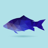 Fish polygon silhouette