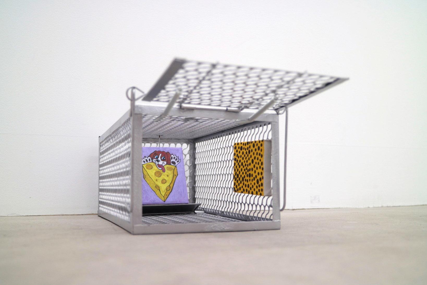 Rat Museum For Rat 2019 / Rat trap, acrylic on canvas, wood panel / 350x115x115 mm , 83x71 mm , 55x72 mm