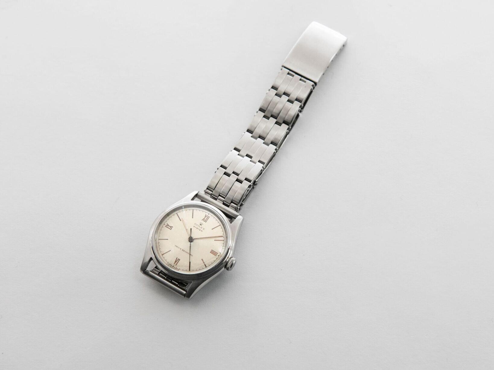 今回のブレスレットを作るきっかけになったという1940年代製ロレックス オイスター Ref.4377。