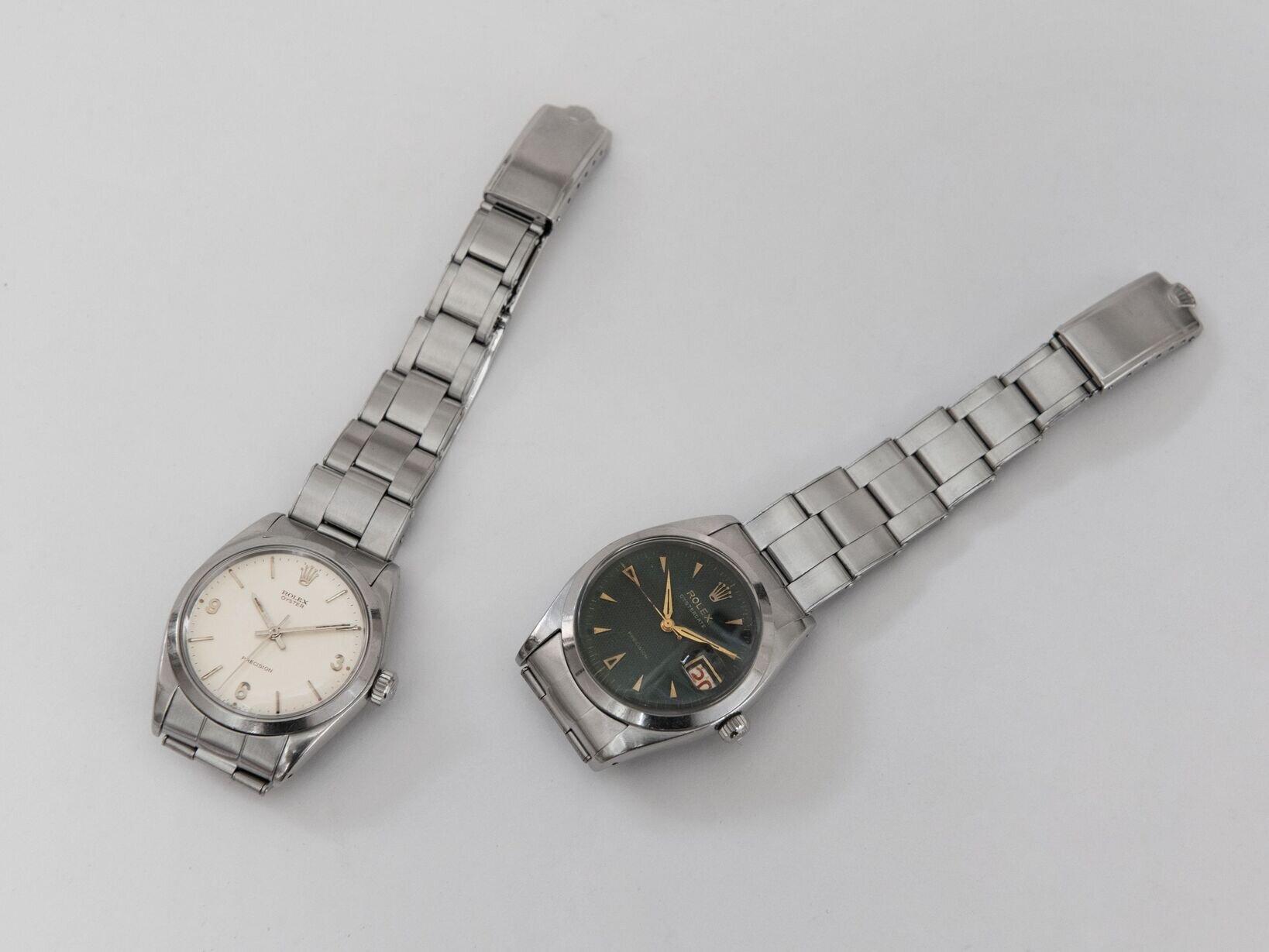 1969年製ロレックス  オイスター(左)、1954年製ロレックス オイスターデイト Ref.6494(右)。どちらの時計も文字盤からブレスレットにいたるまで、徹底してオリジナリティにこだわっている。