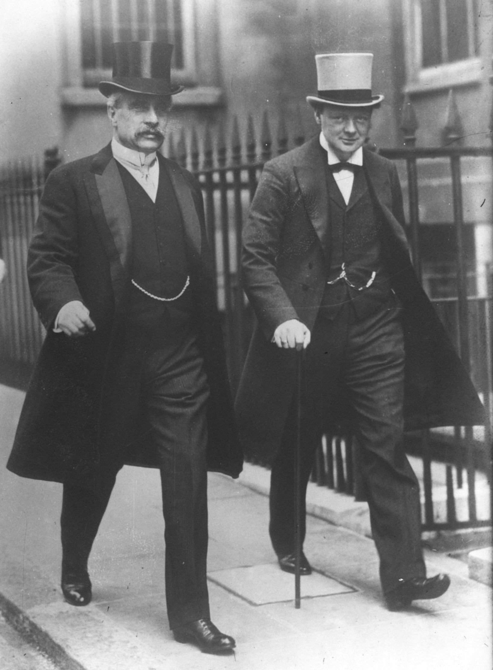 Canadian Prime Minister Robert Borden (1854-1937) and Winston Churchill (then First Lord of the Admiralty) in 1912. Location unknown.