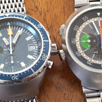 オメガ「フライトマスター(前期型)」&「シーマスターダイバー・クロノグラフ120m(ビッグブルー)」。とにかくデカくて厚くて重い!それでも装着したくなる時計とは。_image