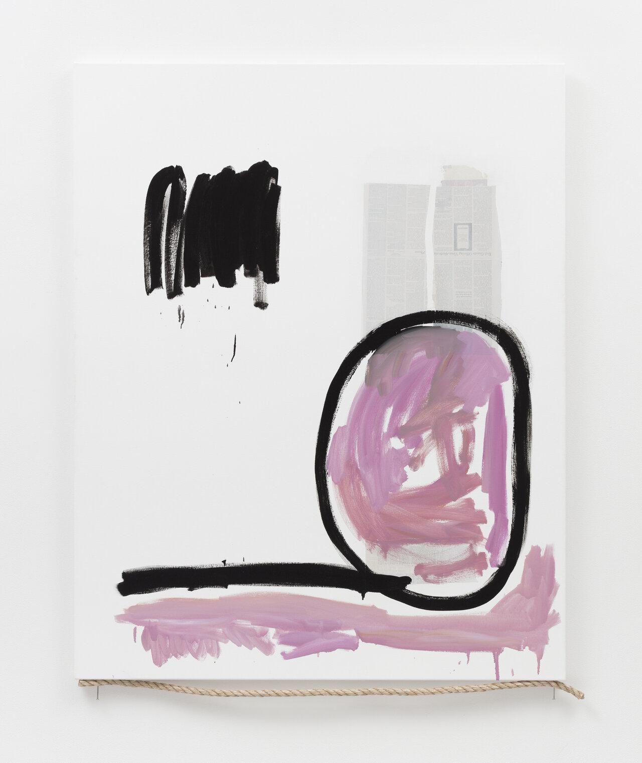 マーガレット・リー I.C.W,U.M. #12 2020 Newspaper, oil paint, nails, rope on canvas 157x127cm Courtesy of the artist and MISAKO & ROSEN Photo: KEI OKANO